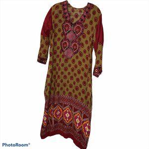Indian Kurti mustard pink boho print dress M